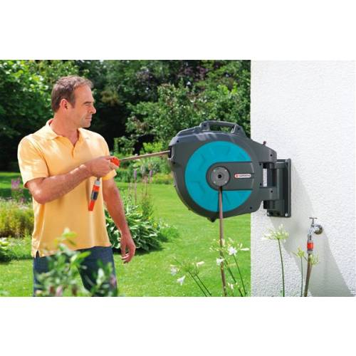 gardena wall mounted hose reel and hose guide